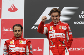 Felipe Massa and Fernando Alonso on the 2010 German GP podium at Hockenheim