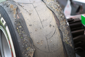 Damaged Pirelli tyre from Paul di Resta's Force India