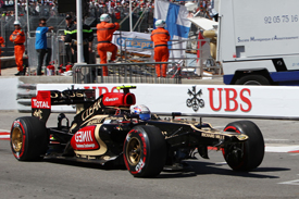 Romain Grosjean's damaged Lotus, Monaco GP 2013