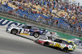 Brad Keselowski and Greg Biffle crash, NASCAR Kentucky 2013