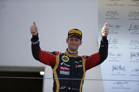 Romain Grosjean on the Nurburgring podium