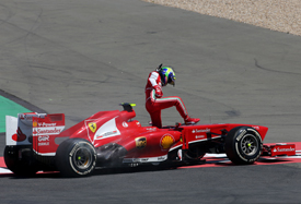 Felipe Massa, Ferrari, spins out of German GP 2013