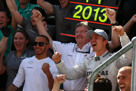 Mercedes celebrates 2013 British Grand Prix win