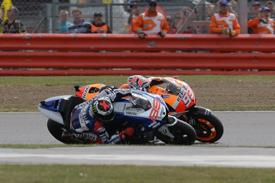 Jorge Lorenzo passes Marc Marquez, Silverstone MotoGP 2013