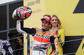 Marc Marquez on the Silverstone MotoGP podium