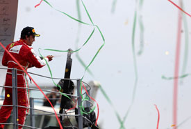 Fernando Alonso on the 2013 Italian GP podium