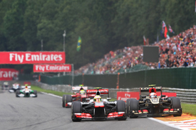 Sergio Perez battles with Romain Grosjean, Belgian GP 2013, Spa