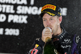 Sebastian Vettel celebrates Singapore GP win 2013