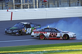 Brad Keselowski and Kyle Busch collide