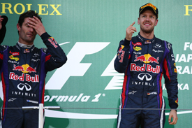 Mark Webber and Sebastian Vettel, Japanese GP podium 2013