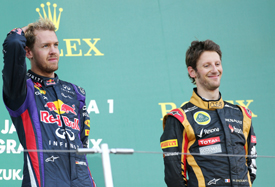 Sebastian Vettel and Romain Grosjean on the Japanese GP podium 2013