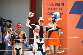 A rueful Pedrosa follows a beaming Marquez - a rather common sight in 2013