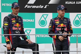 Mark Webber and Sebastian Vettel, Malaysian GP 2013