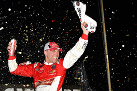 Harvick converts pole to victory