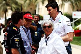 Christian Horner, Niki Lauda, Bernie Ecclestone, Toto Wolff