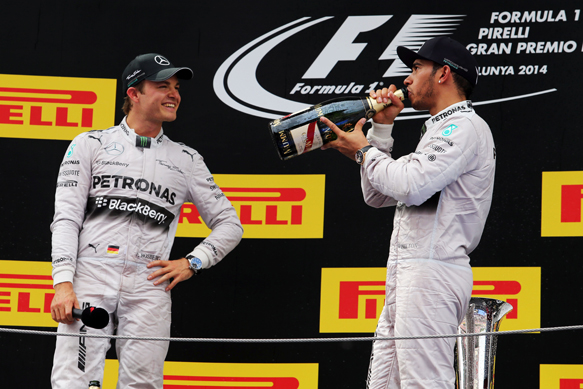 Nico Rosberg and Lewis Hamilton on the 2014 Spanish GP podium