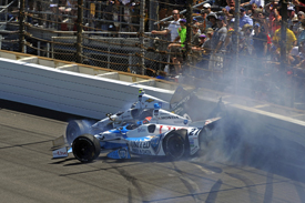 James Hinchcliffe and Ed Carpenter collide, Indianapolis 500 2014