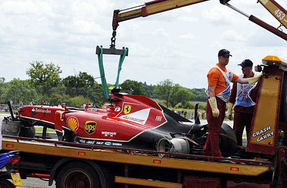 Kimi Raikkonen wreckage, British GP 2014
