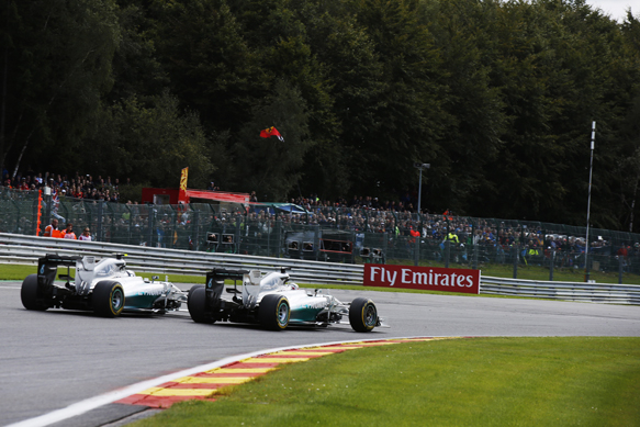 Lewis Hamilton and Nico Rosberg, Mercedes, Belgian GP 2014, Spa
