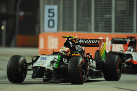 Sergio Perez, Force India, wing breakage, Singapore GP 2014