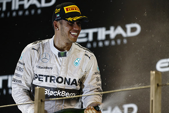 Hamilton wins Abu Dhabi GP and title