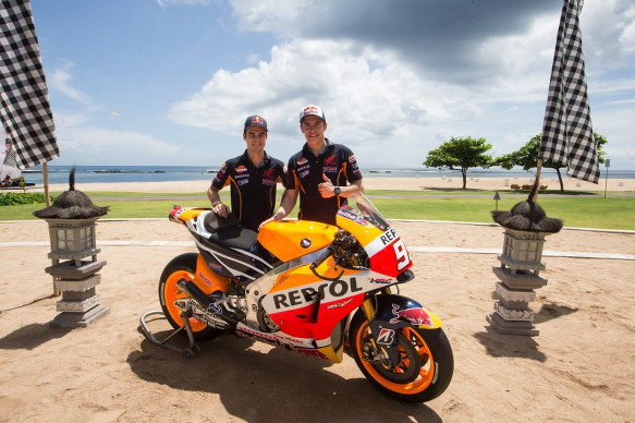 Marc Marquez and Dani Pedrosa at the Honda launch in Bali