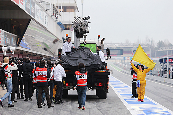 Jenson Button, McLaren, on truck, Barcelona F1 testing, February 2015