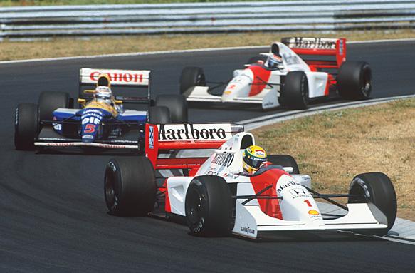 Ayrton Senna, Nigel Mansell, Gerhard Berger, 1992