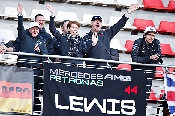Lewis Hamilton fans in Barcelona F1 testing, February 2015