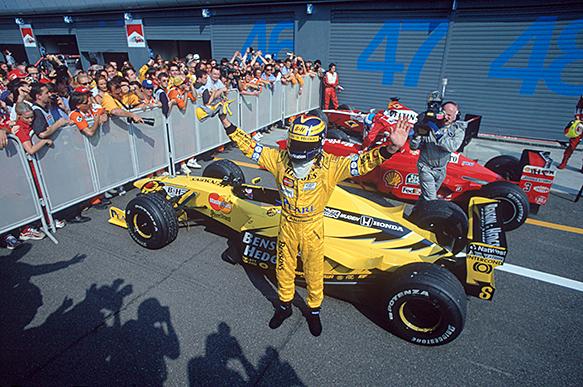 Heinz-Harald Frantzen wins the 1999 Italian GP, Monza, Jordan