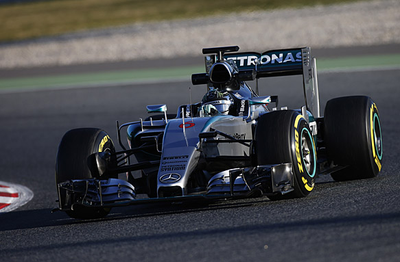 Rosberg puts Mercedes clear out front