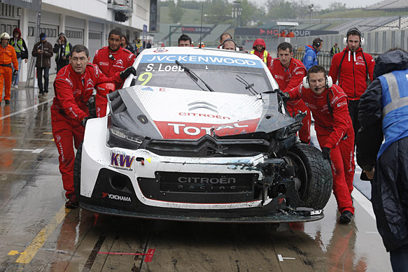 Sebastien Loeb, Citroen, crash, Hungaroring WTCC 2015