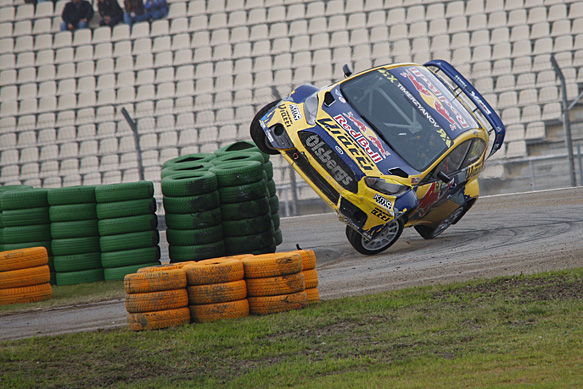 Timur Timerzyanov rolls, Hockenheim World Rallycross 2015