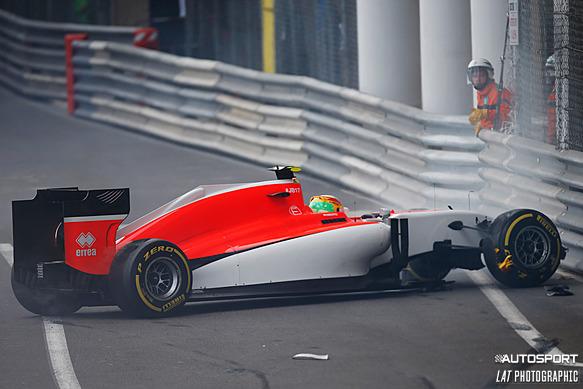 Roberto Merhi crashes, Monaco GP practice 2015