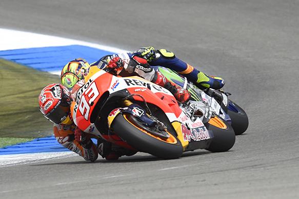 Marc Marquez, Honda, and Valentino Rossi, Yamaha, Assen MotoGP 2015