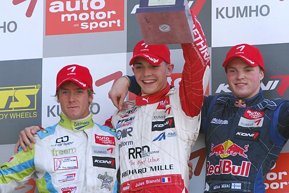 Jules Bianchi, Sam Bird, Mika Maki, Le Mans Euro F3 podium 2009