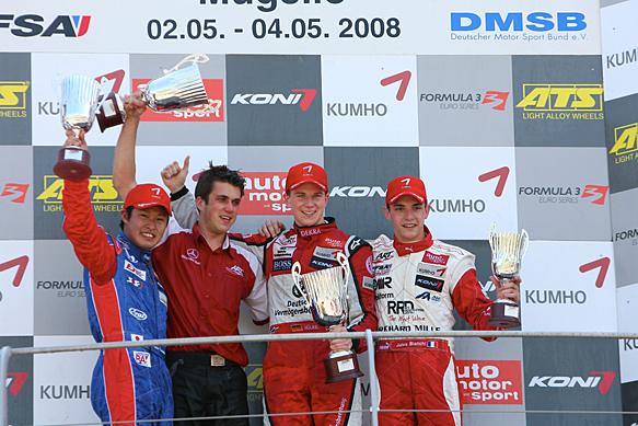 Nico Hulkenberg, Koudai Tsukakoshi, Jules Bianchi, Mugello Euro F3 2008