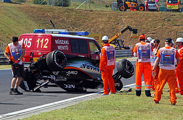 Sergio Perez crash, Hungarian GP 2015
