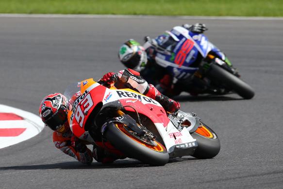 Marc Marquez and Jorge Lorenzo, 2014 MotoGP Silverstone race