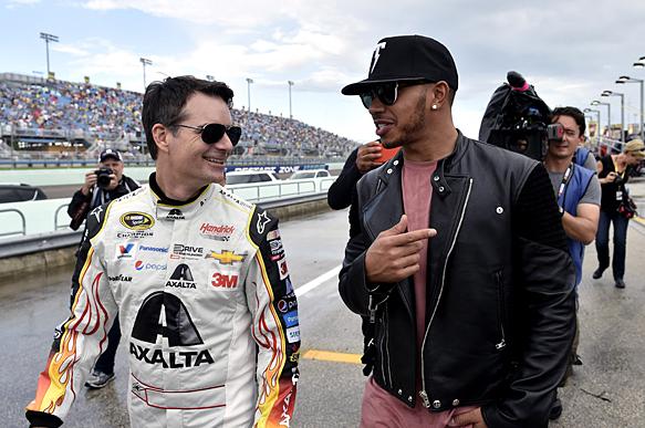 Jeff Gordon and Lewis Hamilton