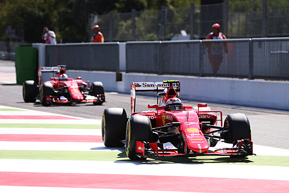 Kimi Raikkonen and Sebastian Vettel, Ferrari, Italian GP 2015, Monza