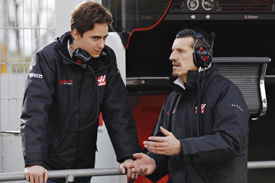 Steiner and Esteban Gutierrez watched on as the Haas VF-16 turned its first laps