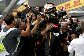 Romain Grosjean finishes third for Lotus, Belgian GP 2015