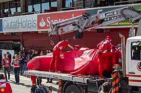 Kimi Raikkonen, Ferrari, Barcelona F1 testing 2016, on lorry