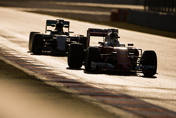 Sebastian Vettel, Ferrari and Nico Rosberg, Mercedes, Barcelona F1 testing March 2016