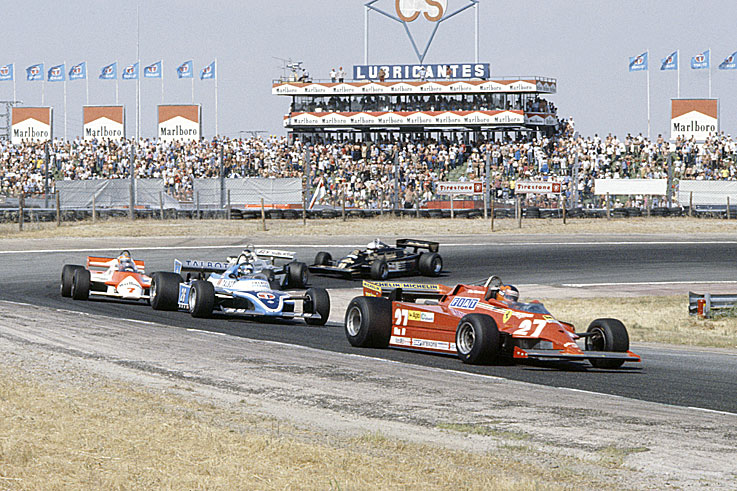 Gilles Villeneuve scores the last of his six F1 wins with the first five cars covered by 1.24 seconds