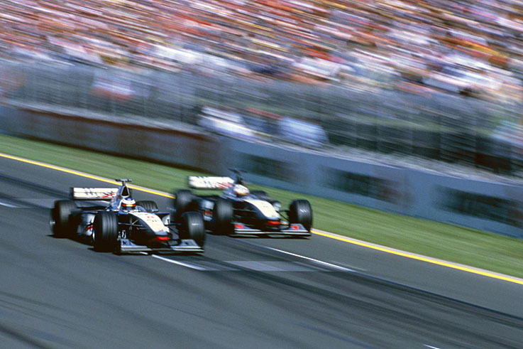 Mika Hakkinen wins his first Formula 1 world championship for McLaren