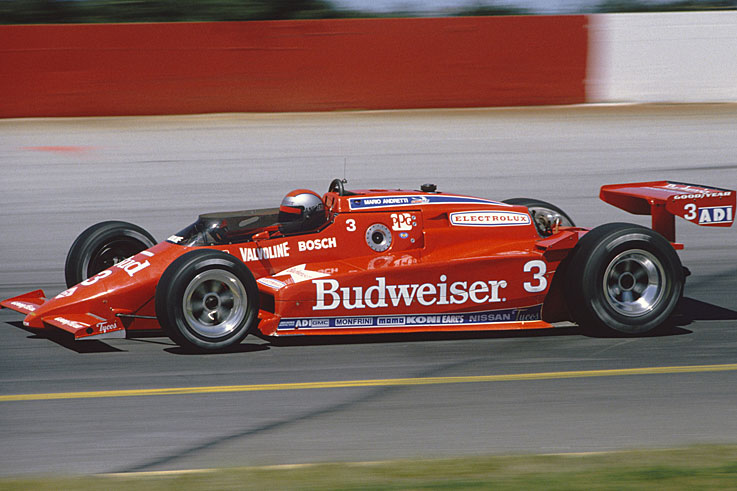 Mario Andretti (#3) wins the IndyCar title, 15 years after winning the Indianapolis 500