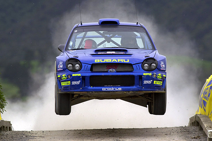 Richard Burns wins the World Rally Championship for Subaru