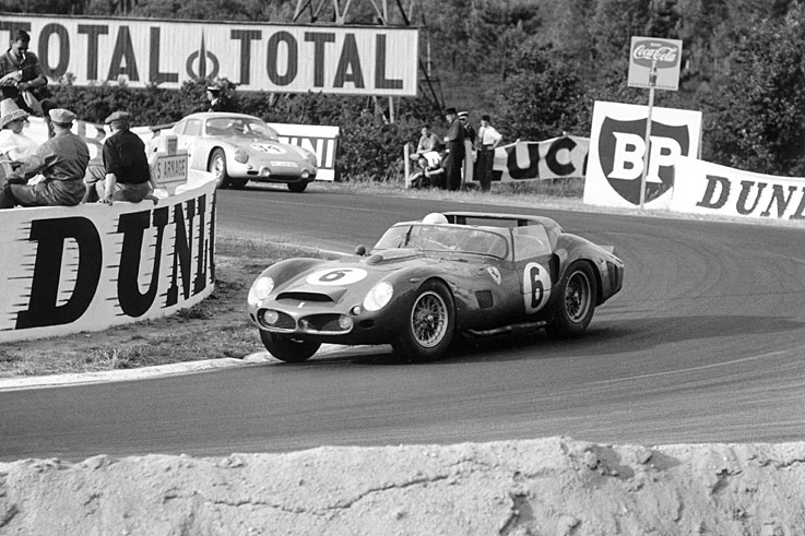 Olivier Gendebien wins Le Mans (pictured), the Targa Florio and the Nurburgring 1000km